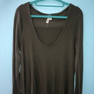 Free people olive green long sleeve